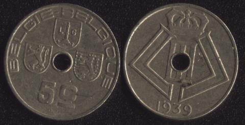 Бельгия 5 сантим 1939 фламандский