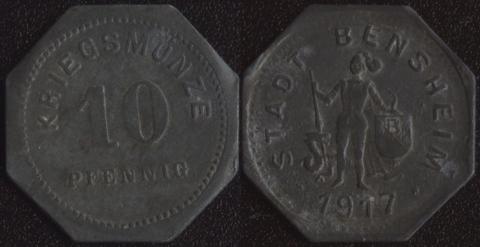 Бенсхайм 10 пфеннигов 1917