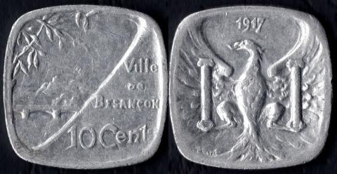 Безансон 10 сантим 1917