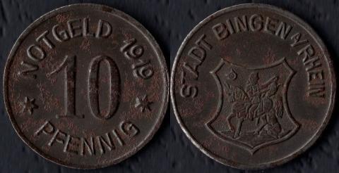 Бинген 10 пфеннигов 1919