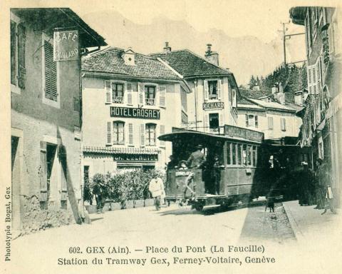 Жекс. Трамвайная линия до Ферней-Вольтер и Женевы. Фотография 1911 года.