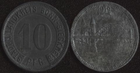 Бонн (округ) 10 пфеннигов 1919
