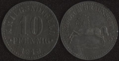 Брауншвейг 10 пфеннигов 1918 цинк