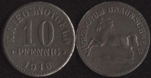 Брауншвейг 10 пфеннигов 1918 железо