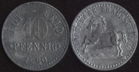 Брауншвейг 10 пфеннигов 1920 цинк