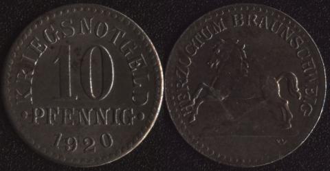 Брауншвейг 10 пфеннигов 1920 железо
