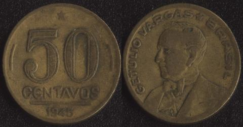 Бразилия 50 сентаво 1945