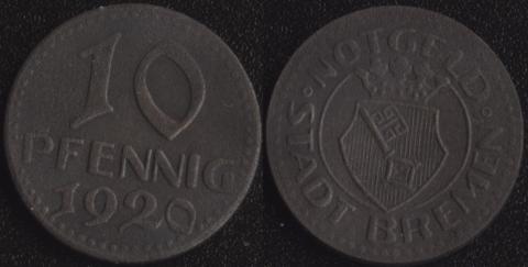 Бремен 10 пфеннигов 1920