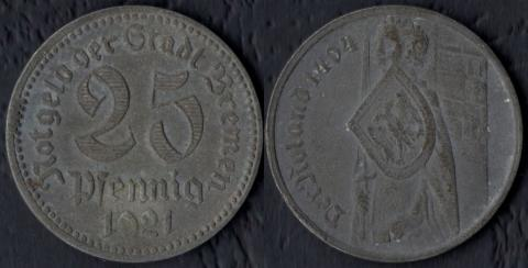 Бремен 25 пфеннигов 1921
