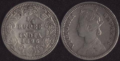 Британская Индия 1/4 рупии 1896