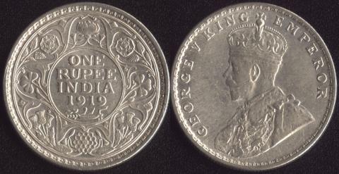 Британская Индия 1 рупия 1919
