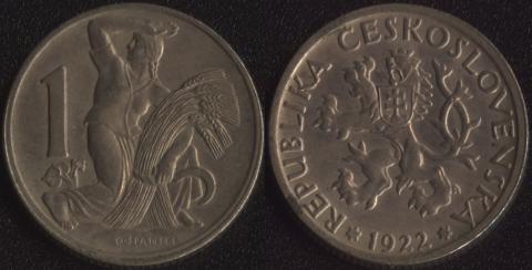 Чехословакия 1 коруна 1922