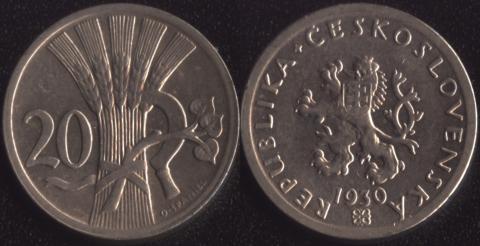 Чехословакия 20 халеров 1930