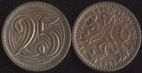 Чехословакия 25 халеров 1933