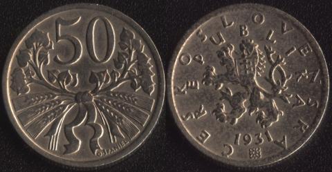 Чехословакия 50 халеров 1931