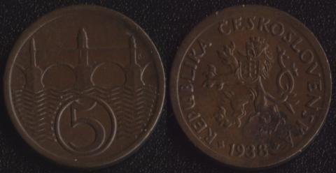 Чехословакия 5 халеров 1938