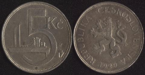 Чехословакия 5 корун 1929