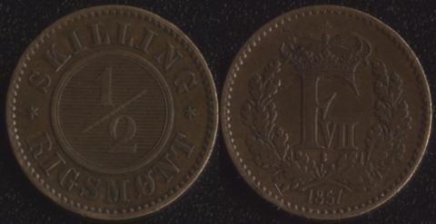 Дания 1/2 скиллинга 1857