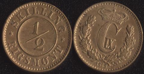 Дания 1/2 скиллинга 1868
