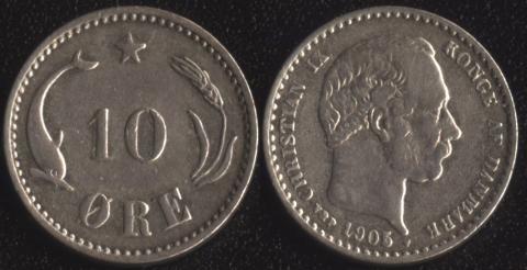 Дания 10 оре 1905