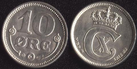 Дания 10 оре 1918