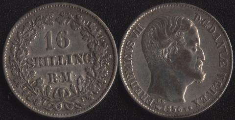 Дания 16 скиллингов 1856