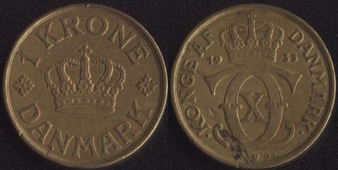 Дания 1 крона 1935