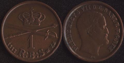 Дания 1 скиллинг 1853