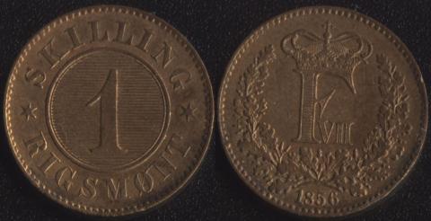 Дания 1 скиллинг 1856