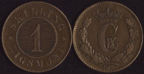 Дания 1 скиллинг 1872