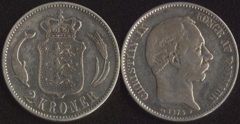 Дания 2 кроны 1875