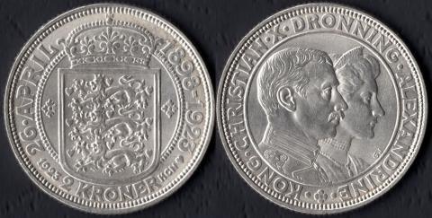 Дания 2 кроны 1923 Серебряная свадьба