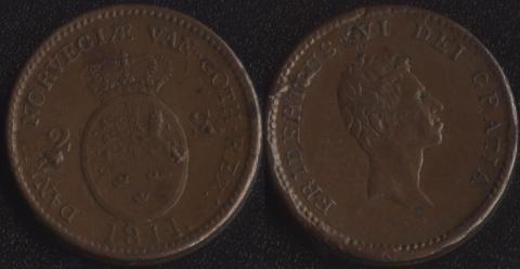 Дания 2 скиллинга 1811