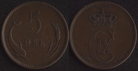 Дания 5 эре 1899