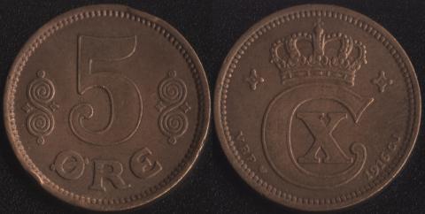 Дания  5 оре 1916