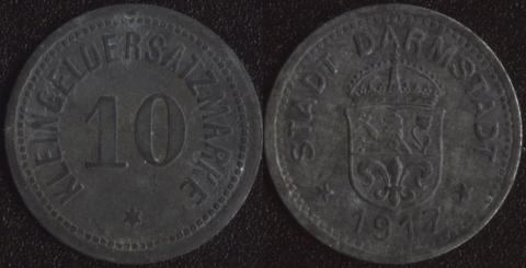 Дармштадт 10 пфеннигов 1917 (цинк)