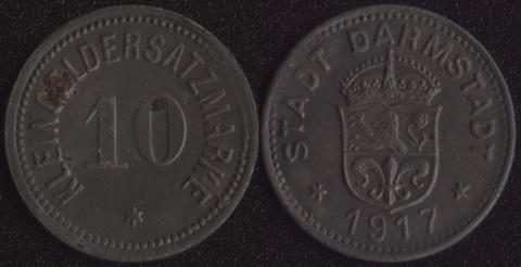 Дармштадт 10 пфеннигов 1917 (железо)