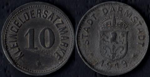 Дармштадт 10 пфеннигов 1919