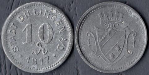Диллинген 10 пфеннигов 1917