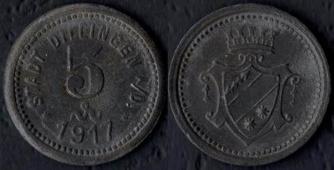 Диллинген 5 пфеннигов 1917