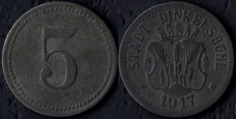 Динкельсбюль 5 пфеннигов 1917