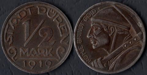 Дюрен 1/2 марки 1919 (рудокоп)