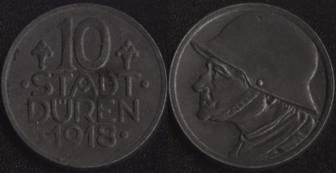 Дюрен 10 пфеннигов 1918