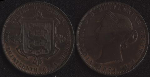 Джерси 1/13 шиллинга 1871