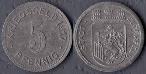 Эльберфельд 5 пфеннигов 1917 (железо)
