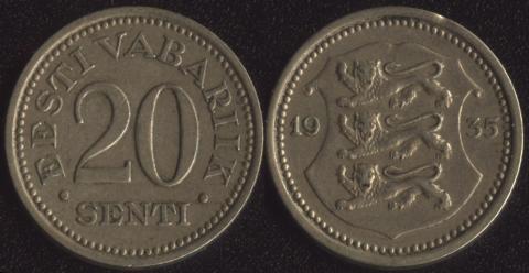 Эстония 20 сенти 1935