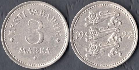 Эстония 3 марки 1922