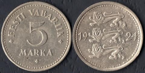 Эстония 5 марок 1924