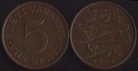 Эстония 5 сенти 1931