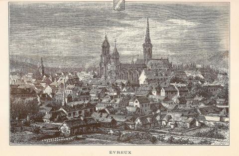 Вид города Эврё. Гравюра Губерта Клерже, 1882 год